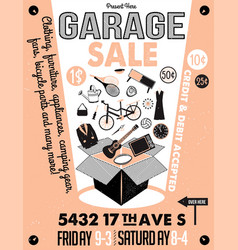 garage or yard sale with signs box and household vector image