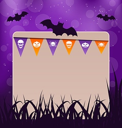 Halloween card with hanging flags vector image