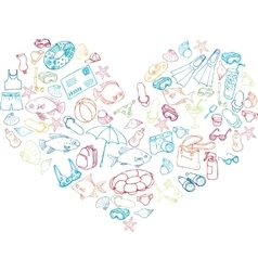 Heart from sea objects vector