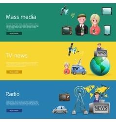 Horizontal mass media bunners set vector