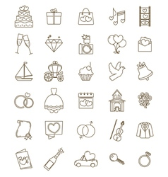icons wedding set vector image vector image