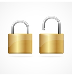 locked and unlocked padlock gold vector image