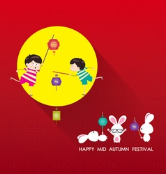 Mid autumn festival background with lantern rabbit vector