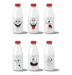 Milk smailing bottle set 002 vector image vector image