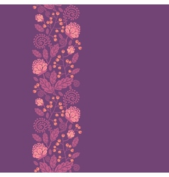 Purple flowers and berries vertical seamless vector image vector image