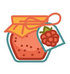 Raspberry marmalade jar vector