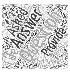 Responding to taboo questions word cloud concept vector