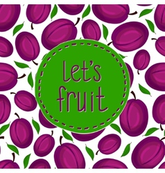 Seamless pattern with plum branch vector image