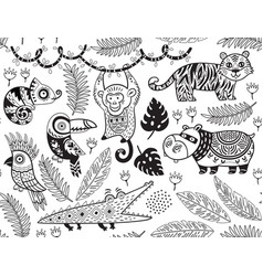 seamless pattern with tropical animals in vector image