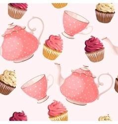 Seamless teacups and cupcakes vector image