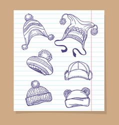 sketch winter hats set vector image