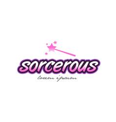 Sorcerous word text logo icon design concept idea vector