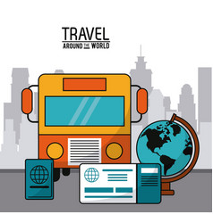 Travel around the world bus transport globe vector