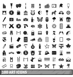 100 art icons set simple style vector