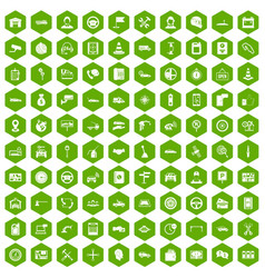 100 auto service center icons hexagon green vector