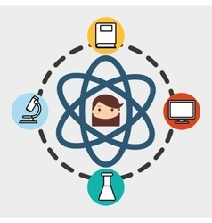 Girl school student molecule laboratory pc vector