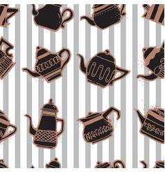 vintage tea pots seamless pattern vector image