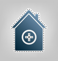 hospital sign   blue icon with vector image