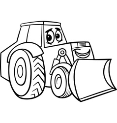 Bulldozer cartoon for coloring book vector