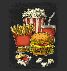 poster with fast food cola hamburger hotdog vector image