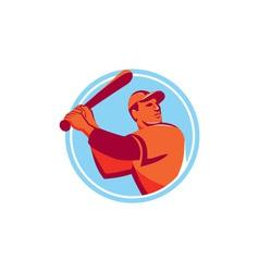 Baseball batter batting bat circle retro vector