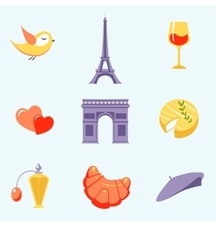 Icons with paris symbols vector