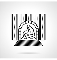 Fireplace black line icon vector image