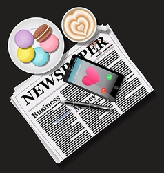 Newspaper and smart phone with latte and macaroons vector