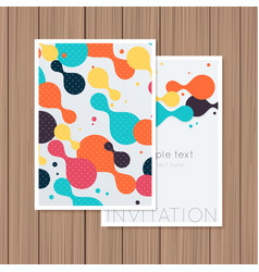 Greeting card with abstract background on a wooden vector