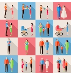 Set of family icons flat style design married vector