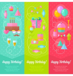 Festive birthday congratulation cards vector