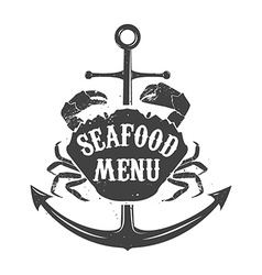 Seafood meny label template vector