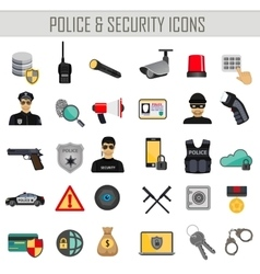 police security and crime icons set vector image