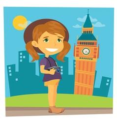 Tourist girl girl traveler girl with camera vector