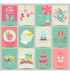 Collection of 12 spring card templates vector