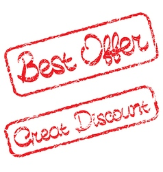 Rubber stamps with text best offer and great vector