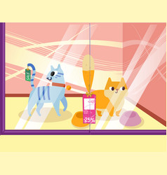 A petshop with cats lovely cartoon animals in the vector