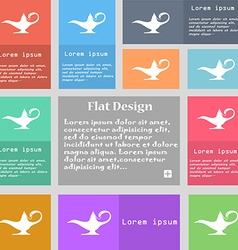 Alladin lamp genie icon sign set of multicolored vector