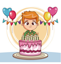 Boy on his birthday with cake and balloons vector