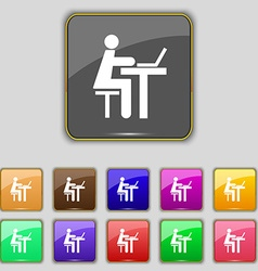 Businessman working on computer icon sign Set with vector image
