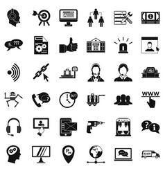 Calling center icons set simple style vector