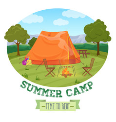 camping of summer forest in mountains vector image vector image