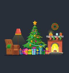 cartoon living room with xmas tree and fireplace vector image vector image