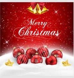 Christmas balls in the snow vector