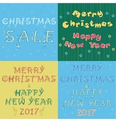Christmas cards with texts by artistic font vector