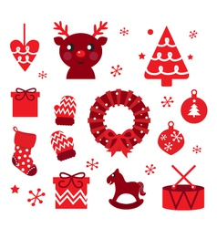 christmas retro elements vector image vector image