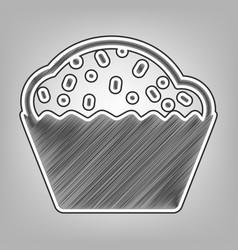 Cupcake sign pencil sketch imitation vector