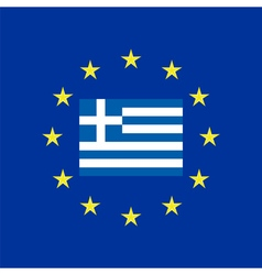Flag of Greece at the EU flag vector image vector image