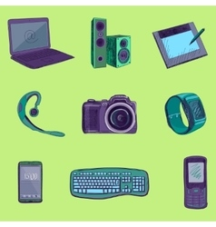 Gadget long shadow icons vector image