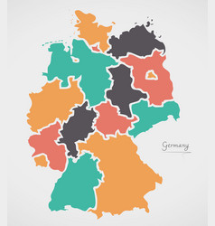 Germany map with states and modern round shapes vector